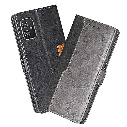 XINNI Cover Protettiva per ASUS Zenfone 8 Case, retrò Cellulare Custodia Libro Antiurto in Flip Pelle PU/TPU, Portafoglio Flip Magnetica, Nero