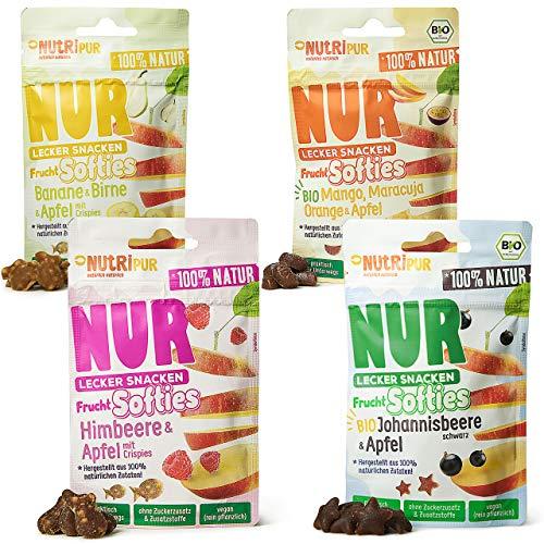 NutriPur Frucht Softies 4er Set - Fruchtgummi ohne Gelatine: Natürliche Snacks aus Fruchtsaftkonzentrat von Beeren und exotischen Früchten, 4 Packungen á 35g, Fruchtgummi vegan, rein pflanzlich