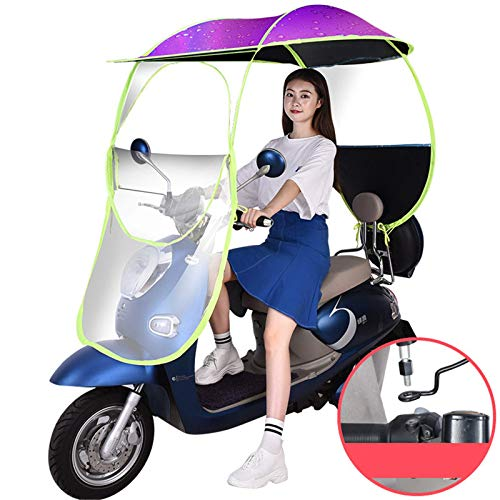XJZKA Universal Battery Car Motor Scooter Paraguas Mobility Sun Shade Rain Cover Impermeable, Scooter Mobility Scooter Toldo con Dosel, Morado, A