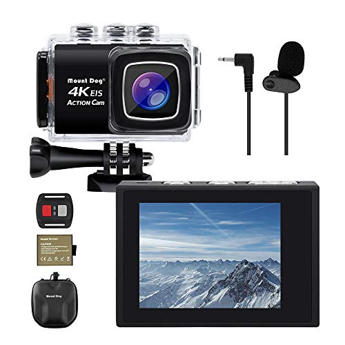 【Upgrade】 MOUNTDOG Sports Action Camera 4K Underwater Waterproof 30M Camera with Wireless Wrist Remote Control/External Microphone/ 2