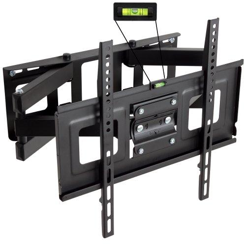 TecTake 400968 TV Wandhalterung für Flachbildschirme, neigbar und schwenkbar, passend für 81cm (32 Zoll) - 140cm (55 Zoll), max. VESA 400x400, belastbar bis 100kg, Wandabstand 7cm