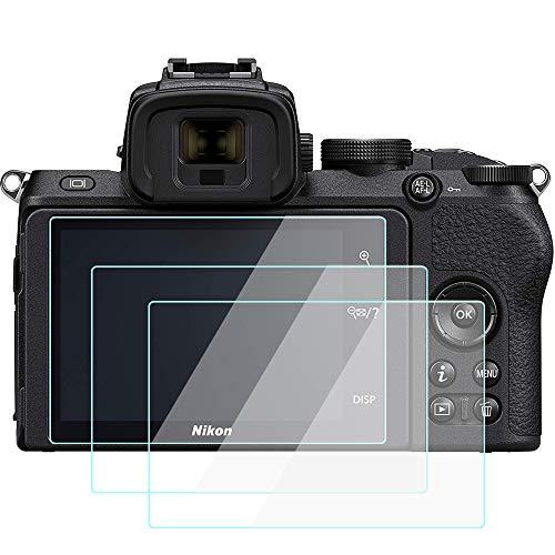 Komet Z50 Displayschutzfolie für Nikon Z 50 Z50 DX-Format Kamera [3 Stück], gehärtetes Glas, dünn, blasenfrei, Anti-Fingerabdruck, Anti-Staub, Anti-Scrach