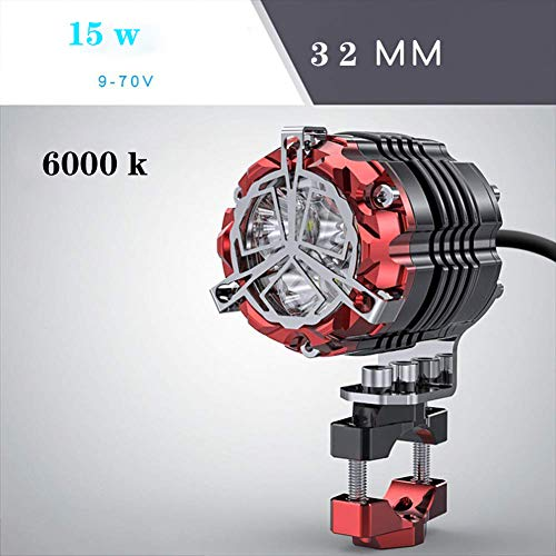 Aione Super Helle 15 Watt Motorradbeleuchtung Zubehör Scheinwerfer LED Motocross Zusatzblitzleuchten Rot Gelb Licht 54mm,Red,32mm