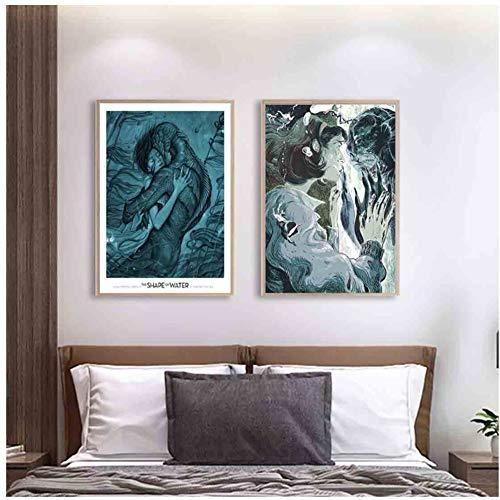 Die Form des Wassers Guillermo del Toro Filmkunst Poster Leinwand Dekoration Druck Bilder Geschenk-40x60x2pcs No Frame