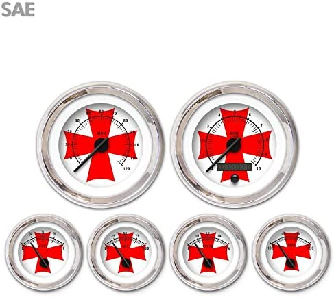 Aurora Instruments 3502 Iron Cross White 6-Gauge SAE Max 86% OFF Be super welcome Red S