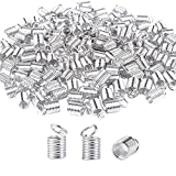 BronaGrand 150pcs Antiqued Brass Silver Crimp Fasteners Leather Cord Ends Caps Necklace Clasp Jewelry Parts...