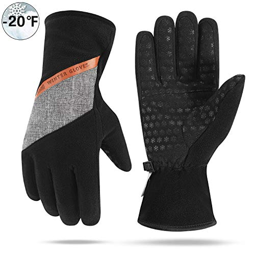 Aegend Winter Waterproof Gloves, Thinsulate Thermal Polar Fleece Gloves with Heat-Reflecting Layer, for Men & Women Cold Weather Driving Hiking Running Fishing Cycling, Medium