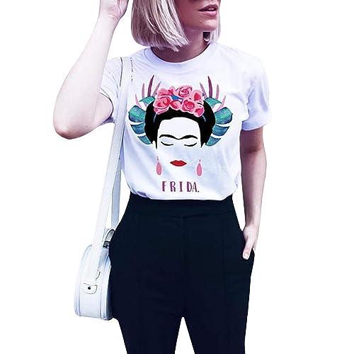 4ccf9fad Qrupoad Womens Frida Kahlo Personalized Artist Summer Oversized Short  Sleeve T Shirt