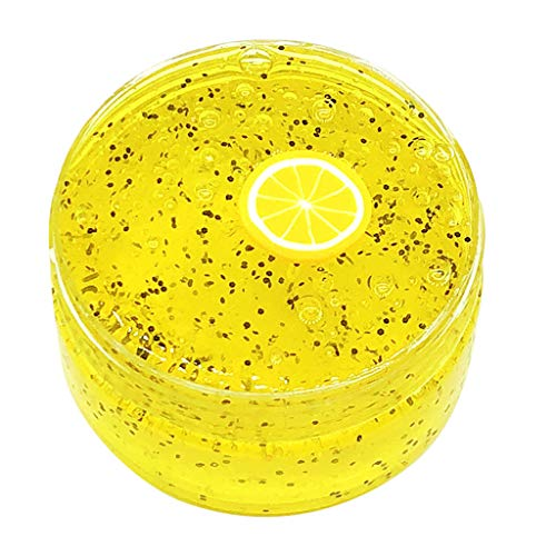 Gbell Fruits Slime Lemon Squishies Fluffy Slime ,Honeybee Clear Crystal Slime Putty Scented Stress Kids Adults Clay Toy (Lemon 80ML )