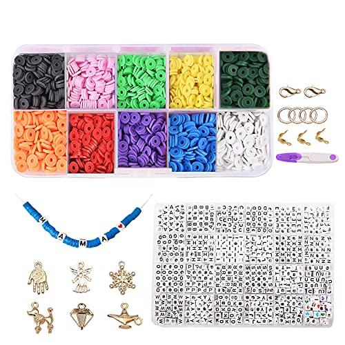 Cuentas de arcilla de polímero, redondas, hechas a mano, hechas a mano, para pulseras y collares (10 colores, 6 mm)