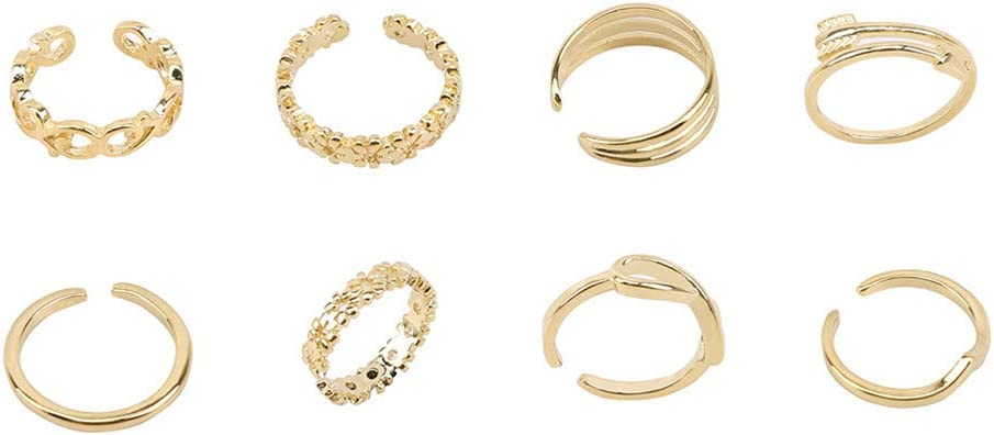Flybloom 8Pcs Women Knuckle Ring Set Opening Toe Rings Adjustable Jewelery Gifts(Golden Color)