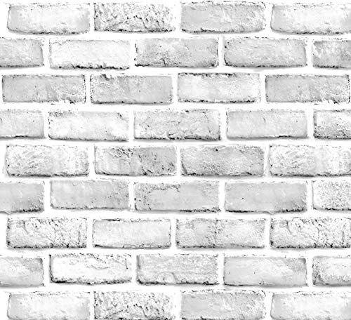 White Brick Peel and Stick Wallpaper – Extra Wide, Thick, & Long Roll - Adhesive Stone Backsplash, Prepasted Contact Paper, Removable Shelf Paper – Faux 3D Modern Vintage Wall Paper - 23.6' x 393'
