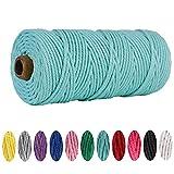 Cuerda de macramé de algodón de 3 mm x 100 m, para colgar macramé, para manualidades, manualidades, tejer, decoración (azul)