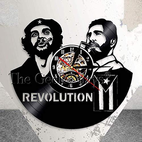 HCPGZ fidel Castro Che Guevara kubanischen Home deor wanduhr Havana Kuba Revolution Schallplatte Uhr Viva Cuba Libre kubanische Flagge Uhr
