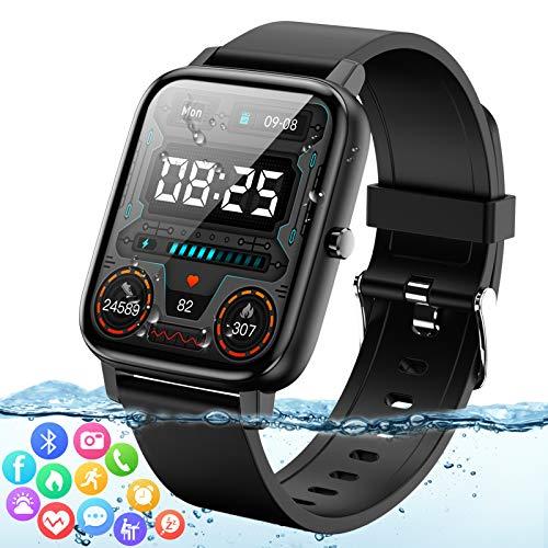 Adhope Smartwatch für Herren Damen Extrem Große 1,7 Zoll Touchscreen Fitness Armbanduhr Wasserdicht mit Pulsuhren Schrittzähler Schlafmonitor Blutdruckmonitor Blutsauerstoff Sportuhr für iOS Android
