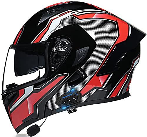 Cascos Modulares Abatibles Doble Visor Para Motocicleta Con Bluetooth, Casco Aprobado ECE, Sistema De Comunicación Integrado De Radio FM MP3 Incorporado 8,L