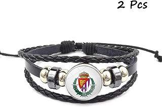 FANwenfeng Retro Bundesliga Soccer Club Badge Beaded Woven Leather Bracelet Football Sport Wristband for Fans 2 Pcs