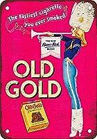 古い金のタバコ錫サイン壁の装飾金属ポスターレトロなプラーク警告サインオフィスカフェクラブバーの工芸品