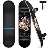 Funxim Skateboard Standard per Bambini 31 x 8 Pollici a 4 Ruote a 7 Strati in Legno di Acero Double Kick Skateboard Completo per Uomini e Donne Giovani Bambini Principiante Scheletro