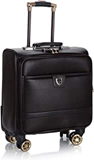 Trolley Case 18 inch Leather Rolling Business Trolley Case with Laptop Compartment, Super Lightweight Expandable Travel Carry On Cabin Hand Luggage Suitcases, Approved for Most Airlines. Travel Luggag