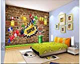 Maßgeschneiderte Kindertapeten Super Mario Kinderzimmer Wohnzimmer Sofa Wand 3D Cartoon Wandbild Wasserdichte Tapete-350x245cm