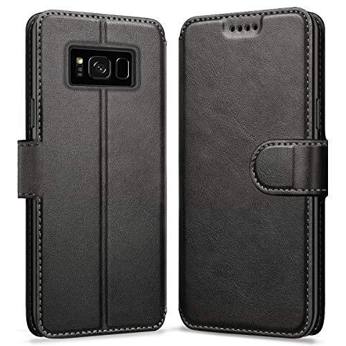 ykooe Handyhülle für Samsung Galaxy S8 Hülle, Hochwertig PU Leder Handy Schutz Hülle für Samsung Galaxy S8 Flip Tasche, Schwarz