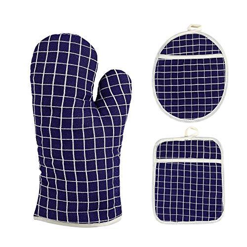 PIXTTHO Oven Mitts and Pot Holders, 3-Piece Set, Heavy Duty Cooking Gloves, Kitchen Counter Safe Trivet Mats, Advanced Heat Resistance, Non-Slip Textured Grip