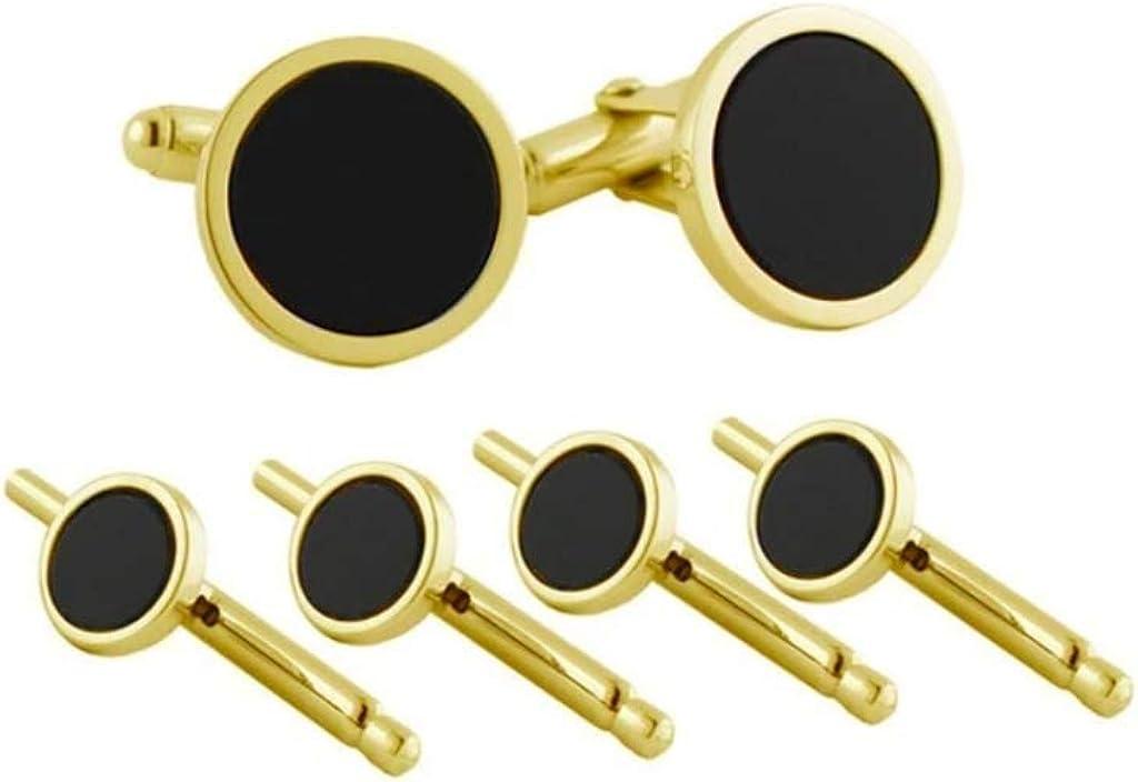 David Donahue Men's Gold Trim Black Onyx Cuff Links Stud Set (SS801509)
