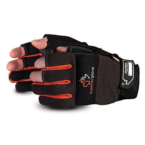Superior Leather Open-Finger Framers Gloves - 1 Pair of Extra Large Black and Orange Work Gloves - MXFE