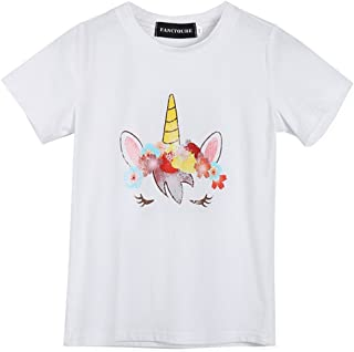 Fancyqube Kid's Girl's Unicorn Mermaid Print Casual T-Shirt Birthday Party Top