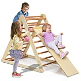 Costzon Foldable Wooden Climbing Triangle Ladder for Sliding...