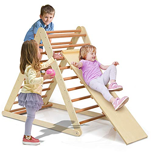 Costzon Foldable Wooden Climbing Triangle Ladder for Sliding & Climbing, 2 in 1 Triangle Climber with Safety Climbing Ladder for Toddlers, Suitable for Children Boys Girls (Natural)