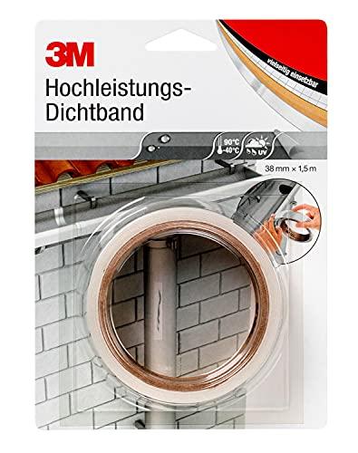 3M Hochleistungs-Dichtband 4412N (Abdichtband, Dichtungsband, Klebeband wasserdicht, Klebeband zum Abdichten und Versiegeln) 38mm x 1.5m, transluzent, Dicke 2.0mm, 1 Stück