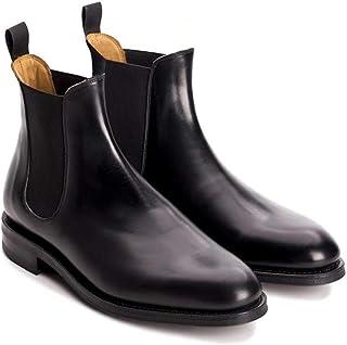 CARA ITALIA Havant Men's Black Vegan Faux Leather Slip on Chelsea Boots
