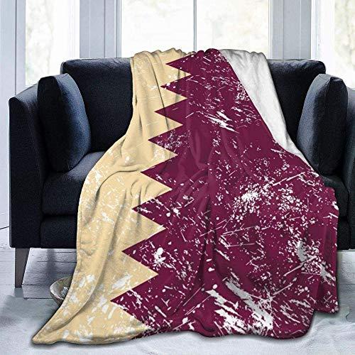 GHYUIPP Coperta morbida,Coperta Super morbida, confortevole, Retro Bandiera del Qatar Coperta da Tiro Carina Coperta di flanella Coperta in Micro Pile Ultra morbida per divano letto -80x60_Inch