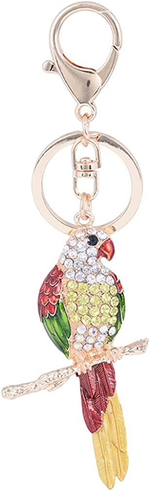 FENICAL Animal Bird Parrot Key Chains Keyrings Handbag Charms Car Key Charms Jewelry (Red)