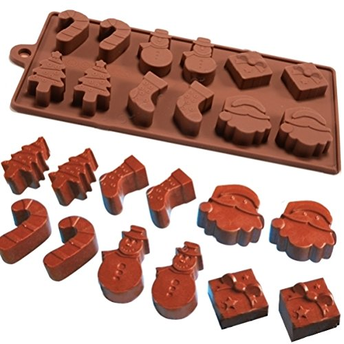 6 Formen 12-teilige Silikonform Fondant Backform für Weihnachtskuchen, Wackelpudding, Eis, Schokolade by DURSHANI