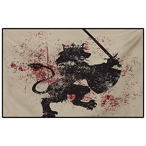 King Patio Rugs Kitchen Rugs Non Skid Fantasy Lion Symbol of Courage with Armor and Shield on Grunge Backdrop for Living Room Bedroom Bathroom Kitchen Laundry Dorm Black White and Burgundy 6.5 x 8 Ft
