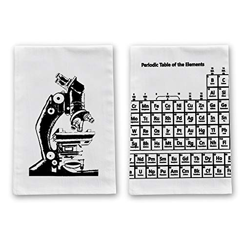 Happy Family Clothing Funny Kitchen Tea Towels, Decorative Flour Sack Dish Towels, Dishcloths Gift Set of 2 (Nerdy Microscope & Periodic Table - 2 Pack)