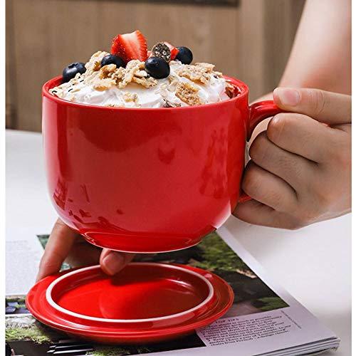 2er Set Jumbo Suppentasse Mit Henkel, Keramik Kaffeetasse Breit Suppenschüssel Für Getreide Dessert EIS Snacks Kaffeebecher-rot-700ml/23.7oz