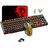Wireless Gaming Keyboard and Mouse,Rechargeable Orange Backlit Keyboard Mouse with 3800mAh Battery,Mechanical Feel Gaming Keyboard,7 Color Gaming Mute Mouse,Gaming Mouse Pad for PC Gamer