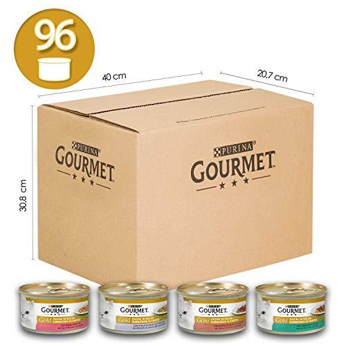 Purina Gourmet Gold Umido Gatto Dadini in Salsa con Verdure, con Anatra, Trota, Coniglio Vitello - 96 Lattine da 85 g Ciascuna (12 Confezioni da 8 x 85 g)