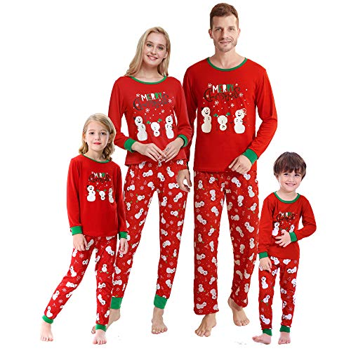 MyFav Christmas Pajamas for Family Cute Snowman Print Long sleeve PJS Set, Snowman-Men, Large