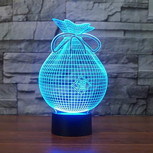 Creativo en forma de bolsa 3D LED luz nocturna lámpara de mesa USB adornos lámpara de decoración de fiesta de cumpleaños para niños lámpara 3D lámpara de mesa de decoración de regalo de vacaciones