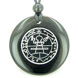 BestAmulets Secret Seal of Solomon Protection Powers Talisman Black Agate Magic Pendant Necklace