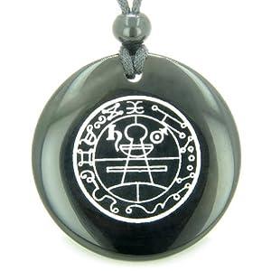 Black Agate Secret Seal of Solomon Protection Powers Talisman Pendant Necklace