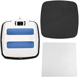 Portable Heat Press Machine, Multi-Function Sublimation T Shirt Press Printing Machine Professional Digital Transfe with Silicone Pad High Temperature Insulation Cloth(Blue White US Plug 110V)