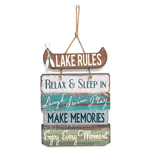 """Barnyard Designs Lake Rules Wooden Sign Vintage Country Lakeside Decor, 14"""" x 21"""""""