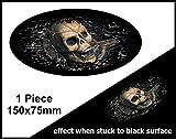 Verblasst zu schwarz getragen Grunge Oval Design mit Evil Skull Innenseite für Motorrad Helm Auto...