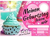 elauelue Einladungskarten Kindergeburtstag - Mädchen Party - Geburtstagskarte mit Glitzer-Muffin - Schicke Einladung zum Kinder Geburtstag - Jahre und Text blanko ausfüllbar - 15-er Karten-Set